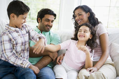 Middle Eastern family watching television Royalty Free Stock Photos