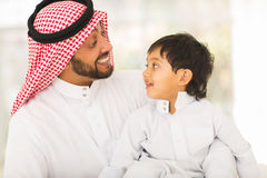 Middle eastern father son Stock Image