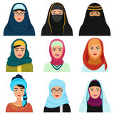 Middle Eastern female avatars set. Arabian muslim woman traditional hijab face collection. Stock Photo