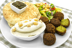 Middle Eastern food. Falafel, hummus, pita Stock Photography
