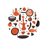 Middle eastern food. Hand drawn illustration in circle. Traditional cuisine concept. Vector. Middle eastern food. Hand drawn illustration in circle. Traditional stock illustration