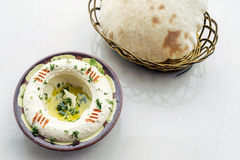 Middle eastern hummus houmous chickpea dip starter snack food se Royalty Free Stock Photography