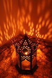 Middle Eastern Lantern. Glowing orange light Stock Images