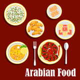 Middle eastern lunch with desserts flat icon Royalty Free Stock Photography
