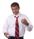 Middle Eastern man gesture. Middle Eastern man using his hands to gesture and explain. shot against a white background stock photo