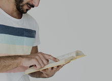 Middle Eastern Man Reading Book Education Knowledge Concept Stock Photography