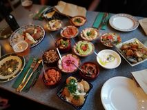 Middle eastern mezze dinner royalty free stock photography