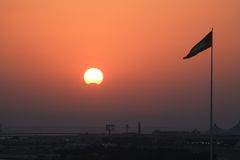 Middle Eastern panoramic red sunset Royalty Free Stock Photos