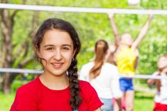 Middle Eastern teen girl during volleyball game royalty free stock photography