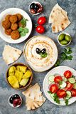Middle Eastern traditional dinner. Authentic arab cuisine. Meze party food. Top view, flat lay, overhead. Middle Eastern traditional dinner. Authentic arab stock photos