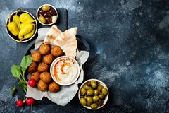 Middle Eastern traditional dinner. Authentic arab cuisine. Meze party food. Top view, flat lay, overhead. Middle Eastern traditional dinner. Authentic arab royalty free stock photography