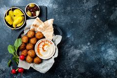 Middle Eastern traditional dinner. Authentic arab cuisine. Meze party food. Top view, flat lay, overhead. Middle Eastern traditional dinner. Authentic arab royalty free stock photos