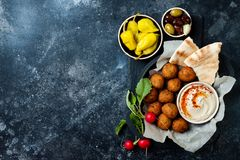 Middle Eastern traditional dinner. Authentic arab cuisine. Meze party food. Top view. Flat lay, overhead royalty free stock photography