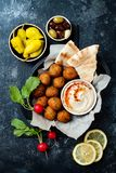 Middle Eastern traditional dinner. Authentic arab cuisine. Meze party food. Top view. Flat lay, overhead stock image