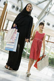 A Middle Eastern woman with a girl shopping. A Middle Eastern woman with a girl in a shopping mall Royalty Free Stock Image
