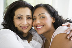 A Middle Eastern woman with her daughter-in-law Stock Photos