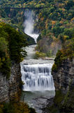 Middle Falls and Canyon at Letchworth State Park - Waterfall and Fall / Autumn Colors - New York Stock Photos