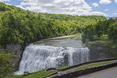 The Middle Falls At Letchworth State Park. In New York Viewed From The Glen Iris Inn Royalty Free Stock Photography
