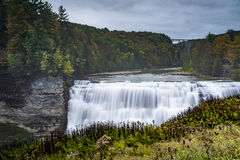 Middle Falls at Letchworth State Park - Waterfall and Fall / Autumn Colors - New York Royalty Free Stock Image