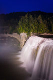 Middle Falls at night, Letchworth State Park, NY Royalty Free Stock Image