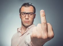 Middle finger Stock Photography