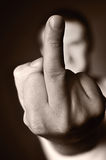 Middle finger as a sign of aggression. Stock Photography