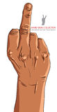 Middle finger hand sign, African ethnicity, detailed Royalty Free Stock Image