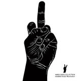 Middle finger hand sign, detailed black and white vector illustr Stock Images