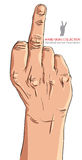 Middle finger hand sign, detailed vector illustration. Stock Photos
