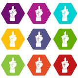 Middle finger hand sign icon set color hexahedron. Middle finger hand sign icon set many color hexahedron isolated on white vector illustration Royalty Free Stock Photography