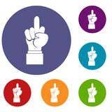 Middle finger hand sign icons set Stock Image
