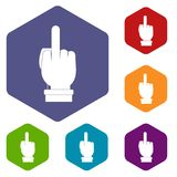 Middle finger hand sign icons set hexagon Stock Photos