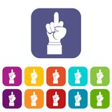 Middle finger hand sign icons set Royalty Free Stock Photography