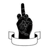 Middle finger hand sign with ribbon, rude gesture Stock Images