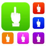 Middle finger hand sign set color collection Stock Photo