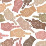 Middle finger hands seamless pattern,  background for wall Stock Images