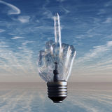 Middle finger light bulb Royalty Free Stock Photo