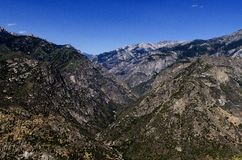 Middle Fork Kings River Mountain Scene. A scenic view of the middle fork of the Kings River located in the Tehipite Valley in Kings Canyon National Park Stock Images