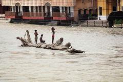 On the middle of the Ganges Royalty Free Stock Photo