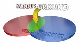 Middle Ground Compromise Negotiation Venn Diagram 3d Illustratio. N Royalty Free Stock Photography