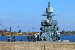 In Middle harbour of Kronstadt Stock Photos