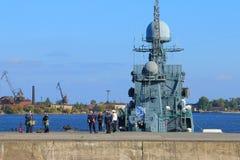 In Middle harbour of Kronstadt Stock Photos