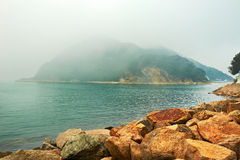 Middle Island in heavy fog Royalty Free Stock Image