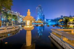 Middle of a lake lamp-Ruzi Pavilion Park night. Kiosks in the city of Nanchang province Xihu District in Jiangxi, West Lake, named for the memorial of the Royalty Free Stock Photos