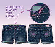 Middle length denim shorts with all-over polka dots print. Front and back view of middle length denim shorts with all-over polka dots print vector illustration