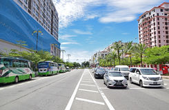 Middle of the main road between Pink colour Marina Court Resort Condominium Hotel at right & Oceanus Waterfront Mall at left. This is a popular street called Royalty Free Stock Photo