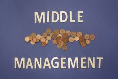 Middle Management written with wooden letters on a blue backgrou. Nd to mean a business concept Stock Photography