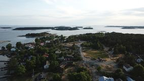 Some islands in the gulf of Finland. Middle of nowere is a small island and still have some houses Royalty Free Stock Photo