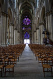 The middle pace in Notre Dame cathedral in Reims Royalty Free Stock Photo