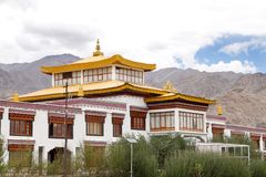 Middle portion of the Monastery in the campus of Druk White Lotus school Leh. Monastery inside Druk white Louts school also called as rancho school royalty free stock photos